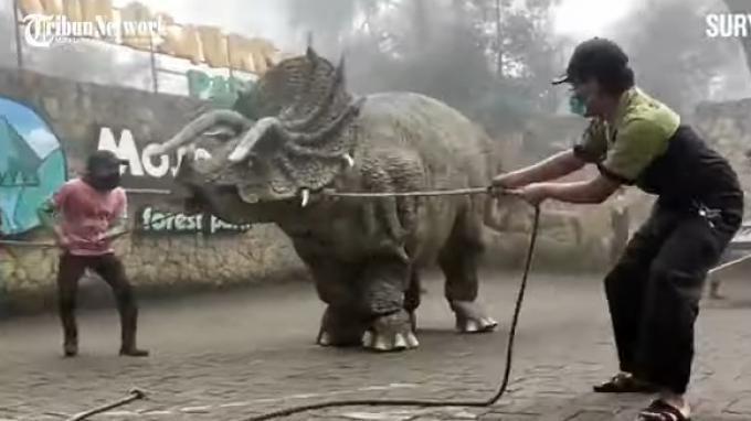 Viral Video Dinosaurus Diturunkan dari Truk, Ini Penjelasan Pengelola Mojosemi Forest Park Magetan