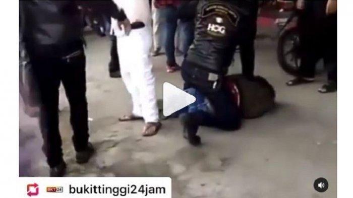 VIRAL Video Sekelompok Pengendara Moge Keroyok Anggota TNI di Bukittinggi, Kepala Korban Ditendang