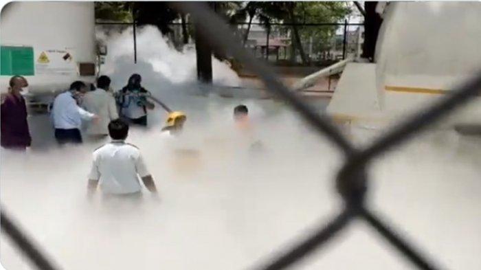 Suasana saat tanki oksigen di India bocor. Akibatnya 22 Pasien Covid-19 di India Tewas Gara-gara Tangki Oksigen Bocor, India Darurat Layanan Kesehatan