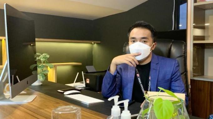 Taqy Malik ditemui usai Grand Opening kantor baru dari perusahaan TaqyChan Group Indonesia miliknya di kawasan Mampang Prapatan, Minggu (14/3/2021).