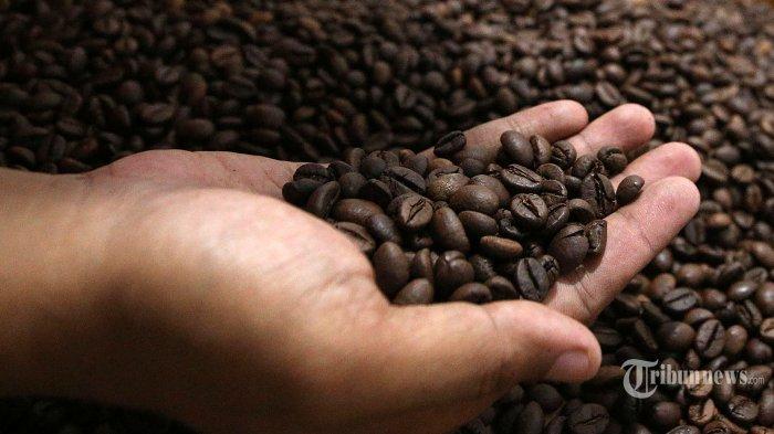 Pengusaha saat melakukan proses Roasting Kopi di Rumah Pitoe Kopi Roastery di Kota Depok, Jawa Barat, Rabu (24/2/2021). Tahun ini pemerintah menargetkan produksi kopi nasional sebesar 834.750 ton, naik dari tahun lalu yang sebanyak 769,7 ribu ton. Tribunnews/Irwan Rismawan