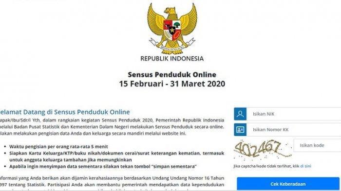 Tangkapan Layar Halaman Depan Pengisian Sensus Penduduk 2020 Online