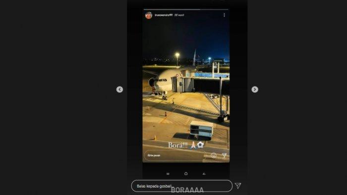 Tangkapan layar dari instagram Bruno Moreira yang akan melakukan perjalanan dengan caption 'Bora' yang artinya ayo pergi.