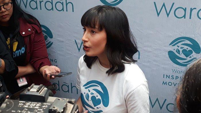 Tatjana Saphira usai menjadi pembicara di acara Wardah Inspiring Movement di kawasan Menteng, Jakarta Pusat, Rabu (15/8/2018).