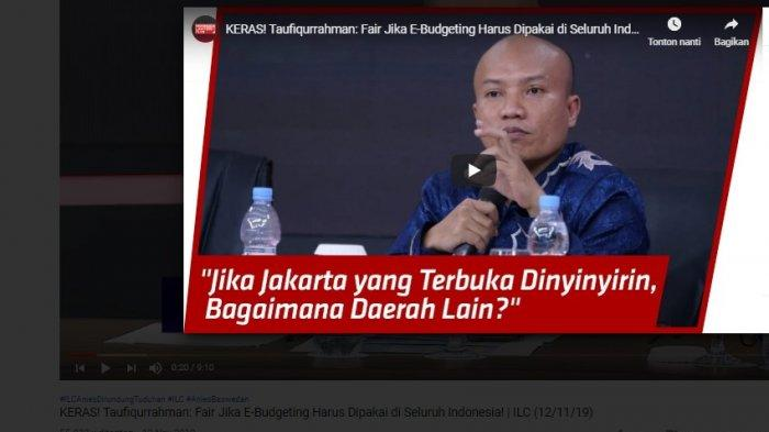 Polemik APBD DKI Jakarta : Berbicara di ILC, Taufiqurrahman Beri Saran untuk Kemendagri