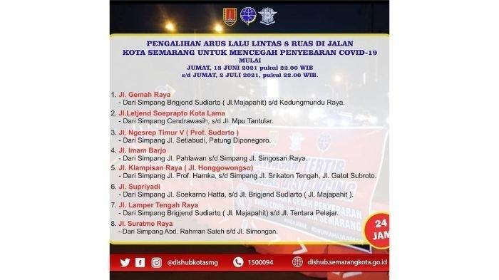 Tekan Persebaran Covid-19, Pemkot Semarang Tutup 8 Ruas Jalan