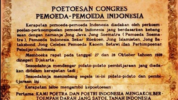 Bahasa Indonesia Dengan Sumpah Pemuda 28 Oktober Diperingati Bulan Bahasa Isi Teks Sumpah Pemuda Bahasa Indonesia Alat Pemersatu Bangsa Tribunnews Com Mobile