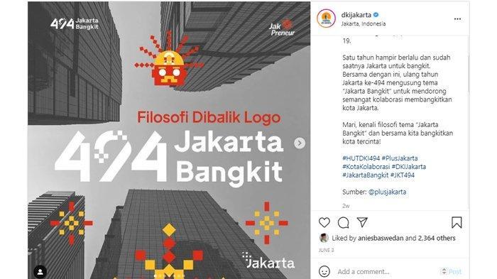 Tema dan logo HUT DKI Jakarta 2021 atau yang ke-494