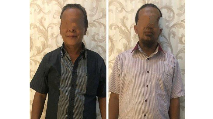 Dua tersangka tindak pidana korupsi di PT Pelindo I yang sudah diamankan Polda Sumut. Tribun Medan/Sofyan Akbar