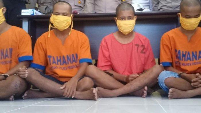 Keempat pelaku pengeroyokan anggota TNI Angkatan Laut yang videonya sempat viral di media sosial