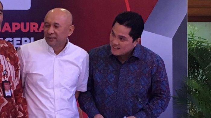 Koordinator Staf Khusus Presiden Teten Masduki dan Ketua TKN Jokowi-Ma'ruf, Erick Thohir saat bertemu dalam konferensi pers Festival Gapura Cinta Negeri di Kompleks Sekretariat Negara, Jakarta Pusat, Rabu (17/7/2019).
