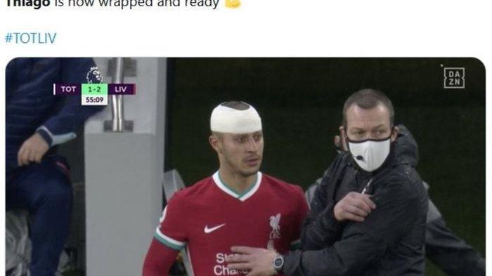 Momen Gelandang Liverpool Nekat Tetap Bermain Meski Kepala Bocor Lawan Tottenham Hotspur