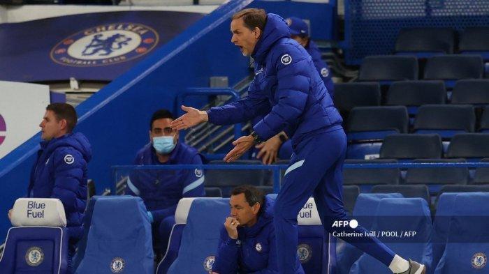 Reaksi pelatih kepala Chelsea Jerman Thomas Tuchel selama pertandingan sepak bola Liga Utama Inggris antara Chelsea dan Arsenal di Stamford Bridge di London pada 12 Mei 2021.