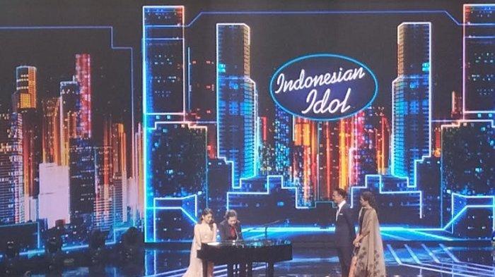 Tiara Anugrah dan Dul Jaelani di konser kemenangan Indonesian Idol season X, Senin (9/3/2020).