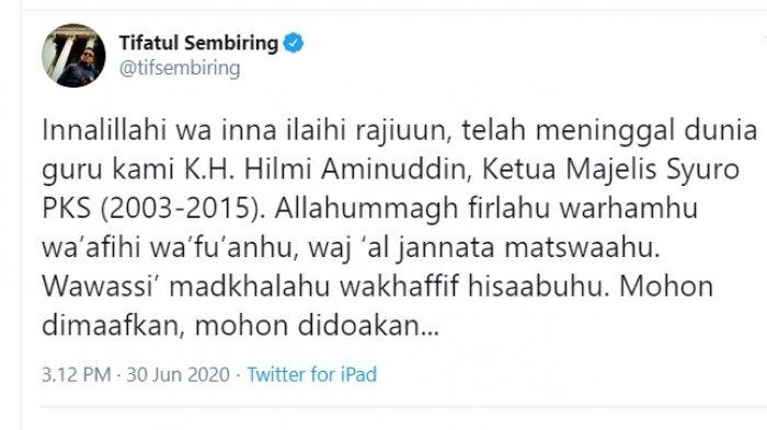 Tifatul Sembiring mengabarkan meninggalnya Hilmi Aminuddin (Twitter @tifsembiring)