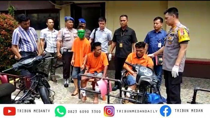 Tiga pelaku kejahatan berjulukan Becak Hantu ditangkap personel Polrestabes Medan, Kamis (18/7/2019)