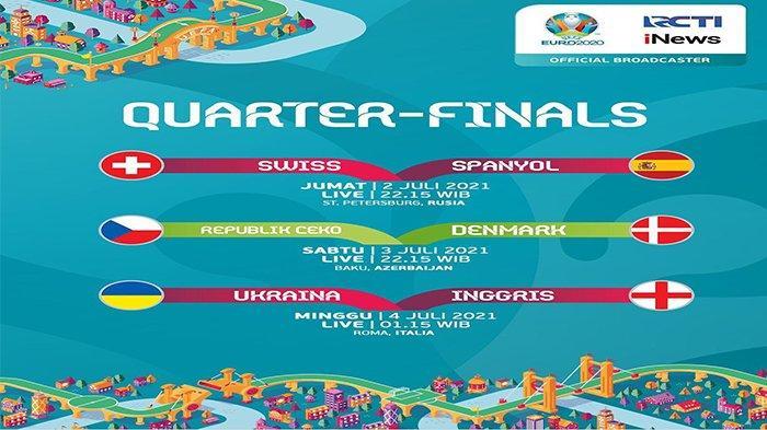 Jadwal Sepak Bola Euro 2021 Hari Ini - Sabtu 3 Juli, Live RCTI dan iNews TV, Akses Mola TV di Sini