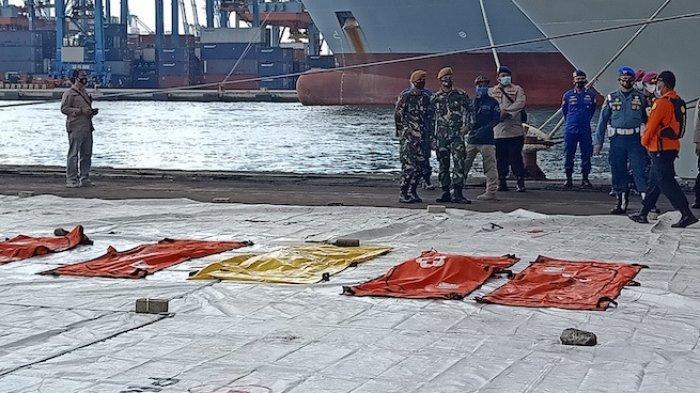 Tim gabungan TNI kembali menemukan sejumlah potongan tubuh hingga barang milik korban pesawat Sriwijaya Air SJ-182 rute Jakarta-Pontianak pada Selasa (12/1/2021).