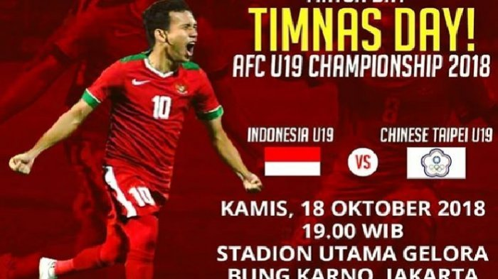 Link Live Streaming RCTI Timnas U-19 Indonesia vs Chinese Taipei 18.30 WIB - Laga Perdana Piala Asia
