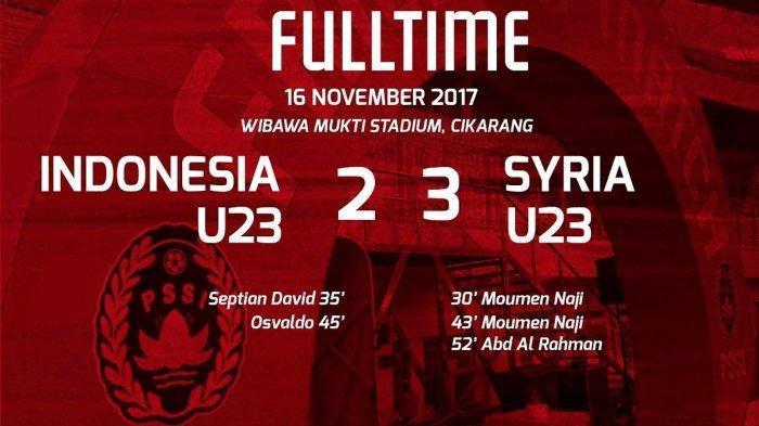 Timnas U-23 Indonesia vs Timnas U-23 Suriah: Pasukan Luis Milla Menyerah 2-3