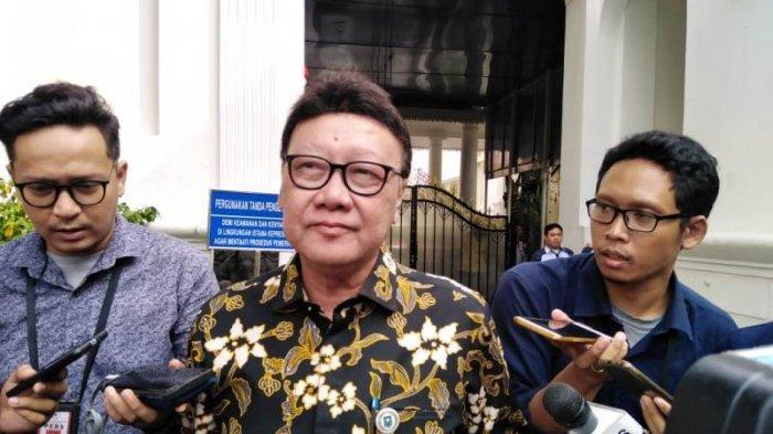 Menteri Dalam Negeri (Mendagri) Tjahjo Kumolo saat ditemui di Komplek Istana Kepresidenan Jakarta, Senin (12/8/2019).