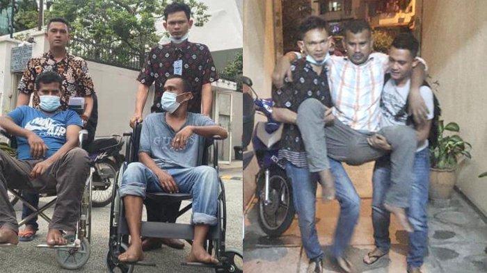 Tim Haji Uma di Malaysia, Abu Saba dan Haikal, mendorong kursi roda yang diduduki dua pasien lumpuh saat dibawa pulang dari Malaysia ke Aceh, Rabu (21/1/2021). Foto kanan, Khalis Wandi warga Keumala Kabupaten Pidie yang menderita lumpuh total akibat stroke, saat dibawa ke kursi roda.