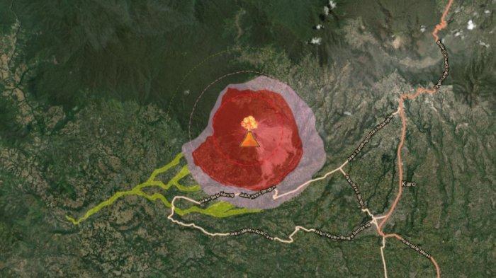 Tnggi kolom abu erupsi Gunung Sinabung pada Senin malam (2/11/2020)