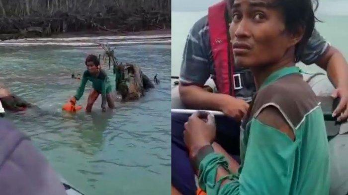 Video Detik-detik TNI AL Temukan Korban Tsunami Terdampar 9 Hari, Bertahan Makan Sampah di Laut
