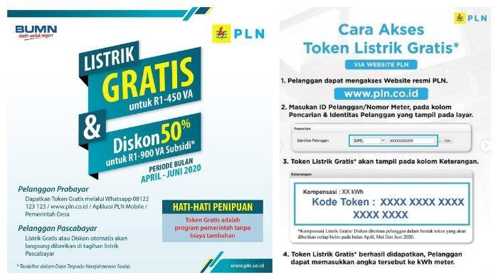 Token Listrik Gratis dan Diskon 50 Persen Mei 2020, Akses www.pln.co.id atau Via WA ke 08122-123-123.
