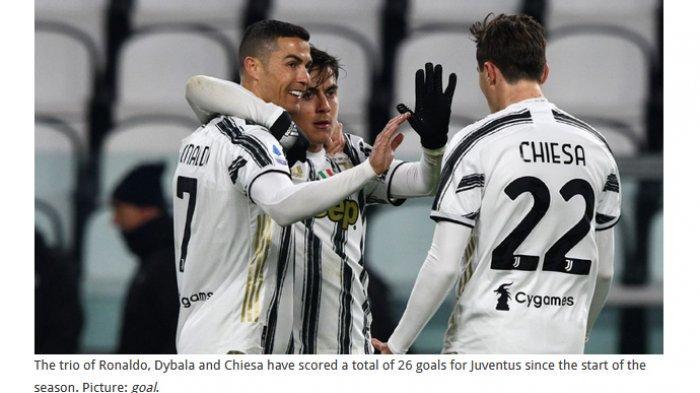 Trio penyerang Juventus, Cristiano Ronaldo, Paulo Dybala, dan Federico Chiesa.