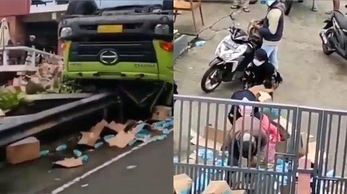 Truk Pengangkut Minuman, Telur dan Minyak Terguling di Solo, Sempat Viral Karena Terjadi Penjarahan