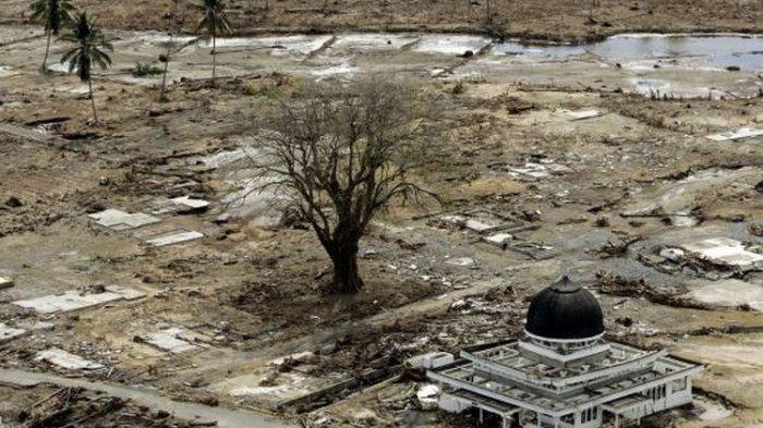 Foto masjid yang menjadi satu-satunya bangunan utuh di wilayah Meulaboh yang diambil pada 2 Januari 2005, menjadi salah satu foto yang paling diingat Eugene Hoshiko, fotografer Associated Press yang meliput tsunami Aceh. Tsunami meluluhlantakkan Aceh pada 26 Desember 2004(AP/Eugene Hoshiko)