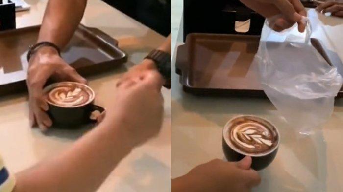 tuang latte ke plastik 2