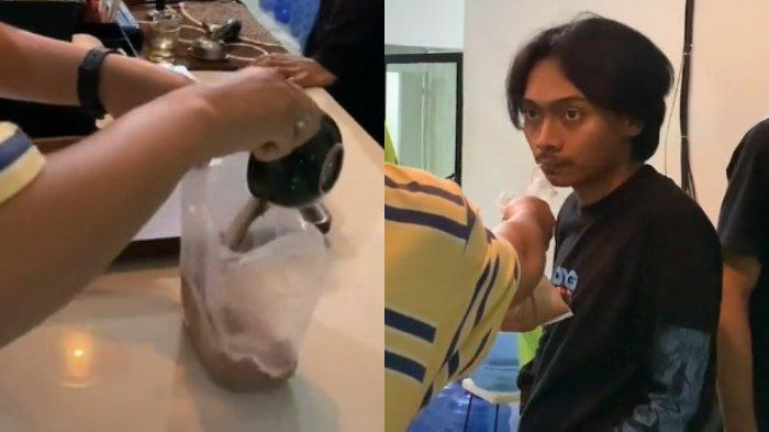 Video pemuda memesan latte lalu dituang ke dalam plastik, viral di media sosial. (TikTok/buayaristaaa)