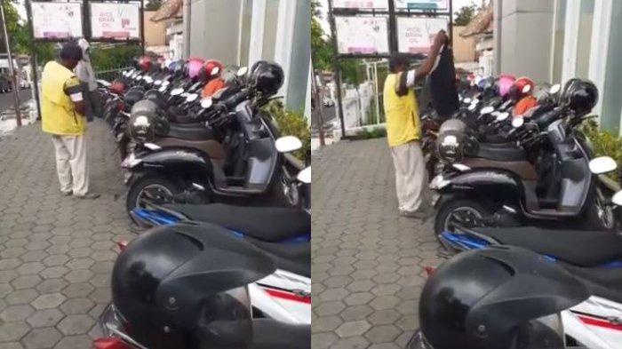 VIRAL Tukang Parkir Lipat Jaket Pengunjung di Parkiran & Memasukkannya ke Helm agar Tak Kehujanan