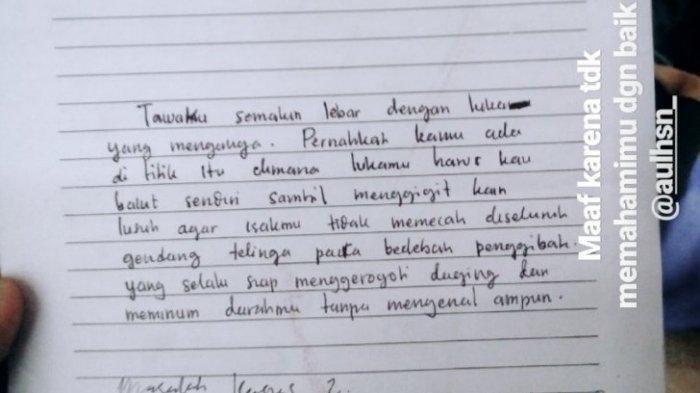 Tulisan tangan Asmaul Husna diunggah salah satu sahabat dekat almarhumah di instagram pasca kejadian.