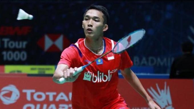 Tunggal putra Indonesia, Jonatan Christie saat tampil di babak pertama All England Open 2020, Birmingham, Inggris, Rabu (11/3/2020).