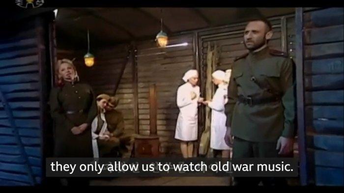 Tayangan televisi Korea Utara tak jauh dari budaya Rusia, yang menampilkan video musik perang.