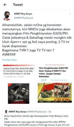 Tvone dan MNC TV dikabarkan akan menayangkan film Pengkhianatan G30S PKI
