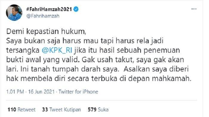 tweet fahri hamzah merespons namanya yang disebut dalam sidang dugaan suap ekspor benih lobster