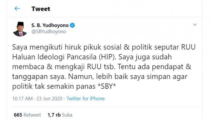 Tweet SBY soal RUU HIP