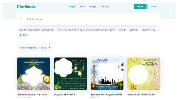 Contoh Kartu Ucapan Idul Fitri melalui Twibbon.