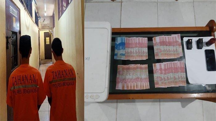 Cetak Uang Palsu, Dua Pemuda di Bengkalis Diringkus Polisi, Alat Cetak Turut Disita