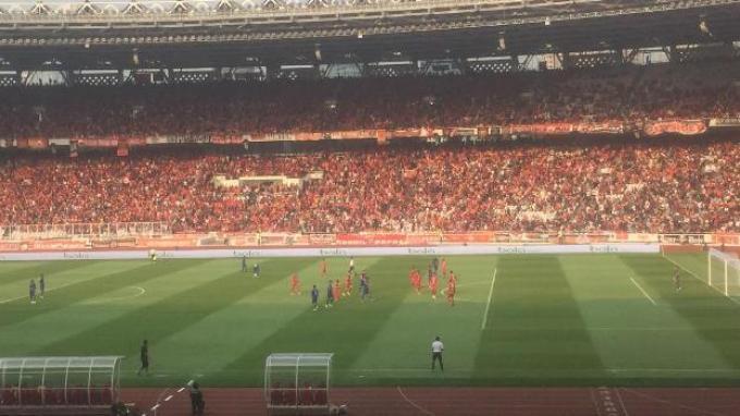 Suasana pertandingan Persija vs Arema FC di Stadion Utama Gelora Bung Karno, Senayan, Jakarta, Sabtu (3/8/2019).