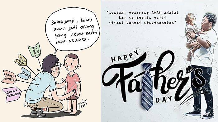 Ucapan bergambar perayaan hari ayah (instagram.com/banggaber dan fun_g)