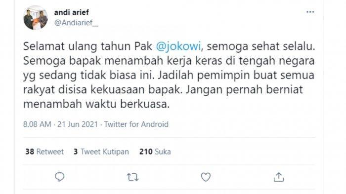Ucapan Ulang Tahun Andi Arief untuk Jokowi
