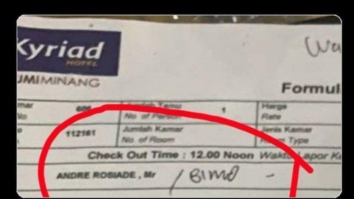Kuitansi pembayaran hotel lokasi penggerebekan PSK di Padang atas nama Andre Rosiade yang beredar di media sosial.