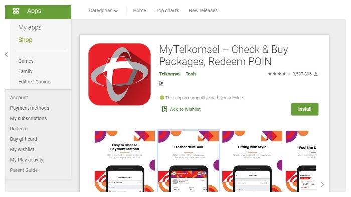 Unduh Aplikasi MyTelkomsel. (Tangkap layar play.google.com)