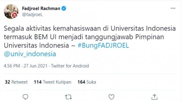 Tangkapan layar unggahan Juru Bicara Presiden, Fadroel Rachman melalui akun Twitter pribadinya @fadjroeL, soal kritikan BEM UI 'Jokowi The King of Lip Service.'