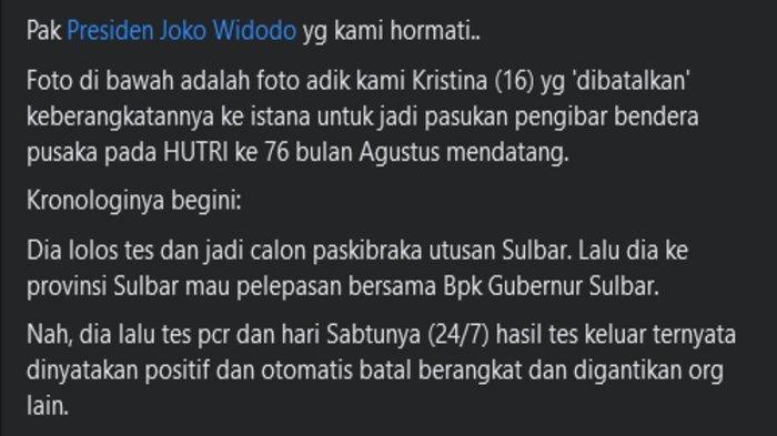 Pria Ini Minta Keadilan ke Jokowi soal Anggota Paskibraka Sulbar yang Batal ke Jakarta
